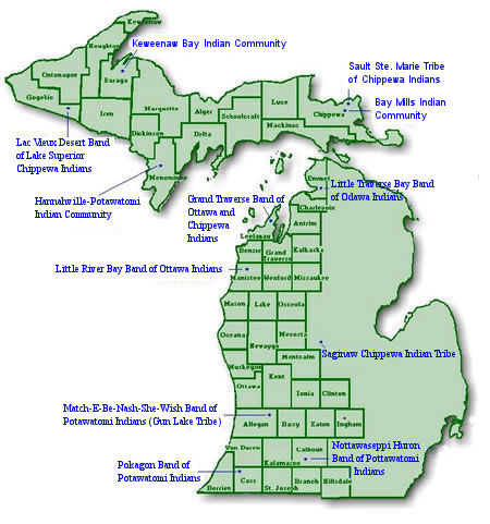 Map of Michigan with counties and tribes