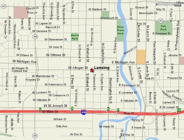 Street map Lansing Michigan