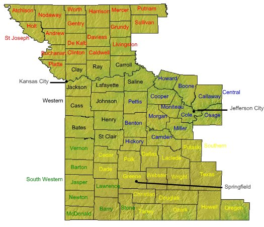 The Western District Of Missouri USAOWDMO Department Of Justice - Map of cities in missouri