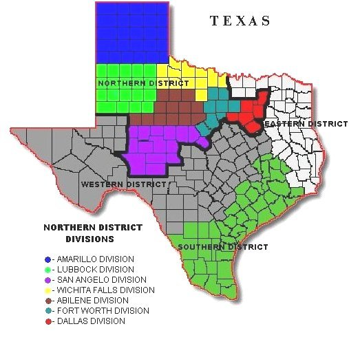 Image of state of Texas.  Each of the seven divisions within the Northern District of Texas are represented by a different color.  The Amarillo Division is blue.  The Lubbock Division is Green.  The San Angelo Division is violet.  The Wichita Falls Division is yello.  The Fort Worth Division is turquoise.  The Dallas Division is red.