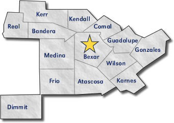 San Antonio Texas County Map