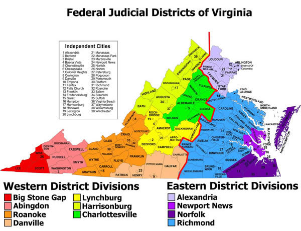 Map of Federal Judicial Districts of Virginia - Click for Text Version