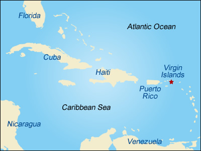 Map showing the location of the Virgin Islands