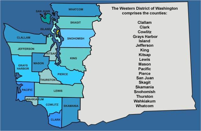 Clallam, Clark, Cowlitz, Grays Harbor, Island, Jefferson, King, Kitsap, Lewis, Mason, Pacific, Pierce, San Juan, Skagit, Skamania, Snohomish, Thurston, Wahkiakum, and Whatcom.