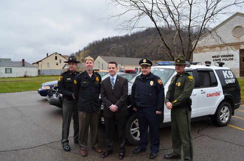 Ohio County Sheriff Pat Butler, DEA Special Agent Mark Simala, Ihlenfeld, Wheeling Police Chief Robert Matheny, and Captain James Merrill of the West Virginia State Police.