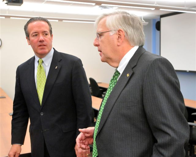 U.S. Attorney Booth Goodwin and Marshall University President Dr. Stephen Kopp shown together during a tour of Marshall's Forensic Science Center in Huntington