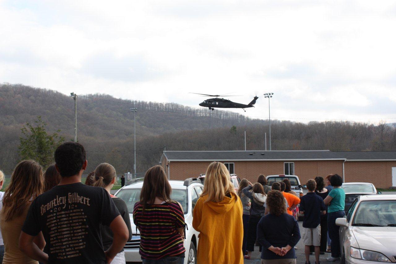 Western Greenbrier students look on as Black Hawk arrives