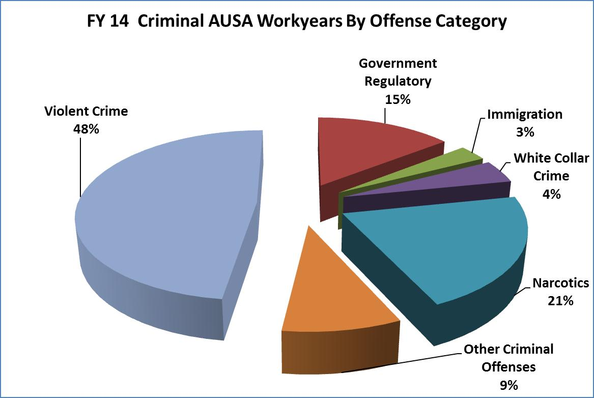 FY 2014 Criminal AUSA Workyears by Category