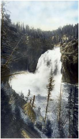 Upper Falls of the Yellowstone River, Colored Photo by J.E. Stimson, Courtesy of the Wyoming State Archives